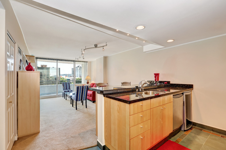 kitchen island: Apartment interior. Kitchen island view with living room. Seattle. Northwest, USA Stock Photo