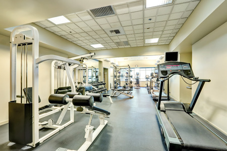 northwest: Interior of new modern gym with sport equipment. Northwest, USA Stock Photo