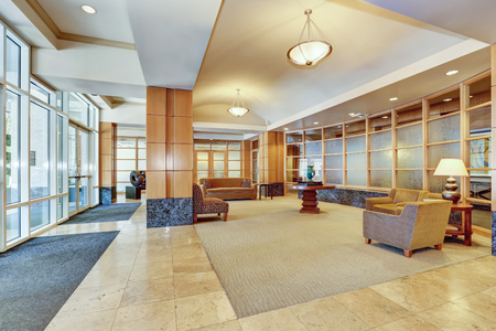 Building lobby with marble floor and furniture. Interior. Northwest, USA Stock Photo
