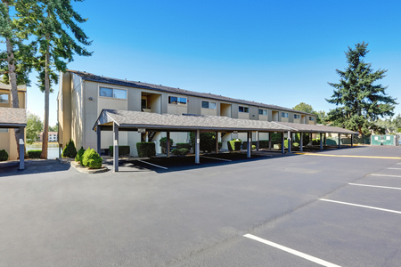 northwest: American Residential condominium complex with parking space. Northwest, USA