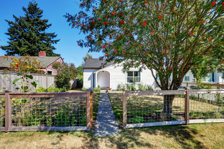 rambler: Small white rambler house with concrete walkway. Northwest, USA Stock Photo