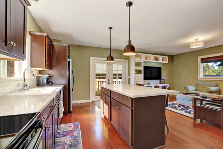 open plan: Open plan kitchen interior with Deep Brown storage combination and bar counter with two stools. View of living room. Northwest, USA