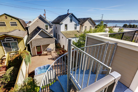 Panoramic view of residential area and Scenic bay view in Tacoma. View from roof terrace. Northwest, USA Stock Photo