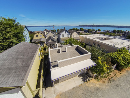 tacoma: Panoramic view of residential area and Scenic bay view in Tacoma. Northwest, USA Stock Photo