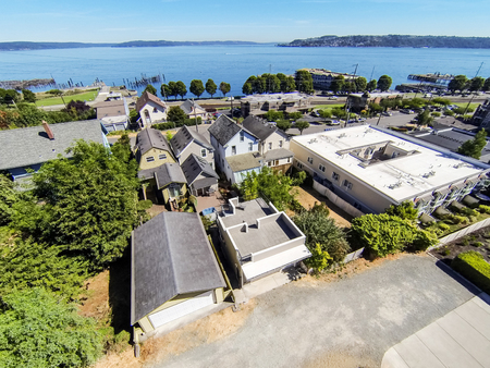 northwest: Panoramic view of residential area and Scenic bay view in Tacoma. Northwest, USA Stock Photo