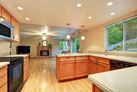 Interior design of nice kitchen room with the living room view. Open floor plan. Northwest, USA