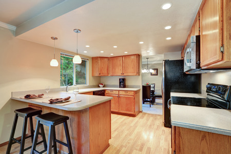 open plan: Open plan kitchen room with cabinets and black appliances. Northwest, USA