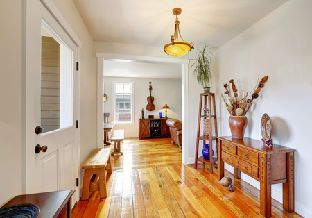 entryway: Nicely decorated entryway with vintage furniture.  Northwest, USA
