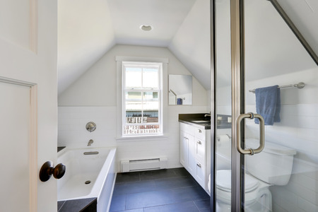 attic: Modern white bathroom interior in the attic. The room has vaulted ceiling, view of glass shower door, bathroom vanity with black top and bathtub. Northwest, USA