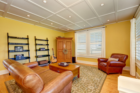 love seat: Cozy American sitting room with pastel yellow walls. Furnished with leather love seat, cabinet, coffee table and black book shelves. Northwest, USA