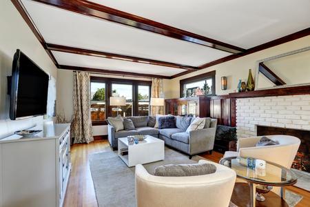 corner sofa foto royalty free, immagini, immagini e archivi ... - Ampio Divano Ad Angolo In Tessuto Grigio Bianco