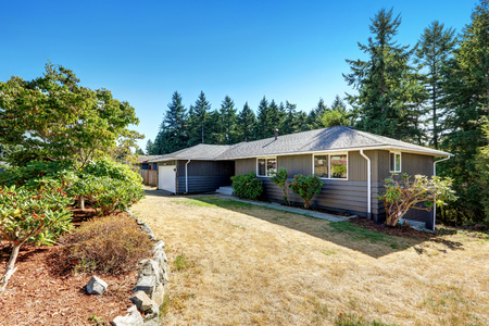 rambler: American grey rambler house exterior with blue sky and fir tees in the background. Northwest, USA Stock Photo