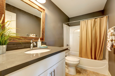 renovated: Interior of bathroom . Grey walls with white bathroom appliances. Has full bath shower with beige curtain, toilet and vanity cabinet. Northwest, USA