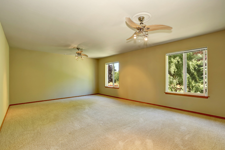 Unfurnished room with carpet floor, two windows and lot of space. Northwest, USA