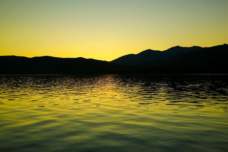 te: Lake Te Anau with beautiful sunset in New Zealand