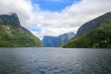 anau: Picturesque view of Milford Sound at Te Anau. Fiordland National Park, New Zealand.