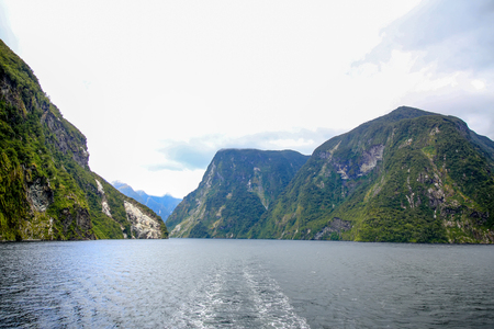 Picturesque view of Milford Sound at Te Anau. Fiordland National Park, New Zealand.