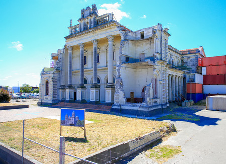 Roman Catholic Cathedral of the Blessed Sacrament , ruined by earthquakes, in Christchurch, Canterbury, New Zealand