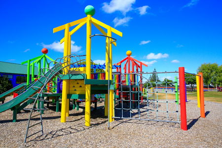 jungle gyms: Picture of colorful playground with equipment, Levin, New Zealand,