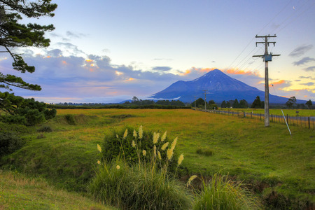 mount: Mountain Taranaki with road on the Northern Island of New Zealand.