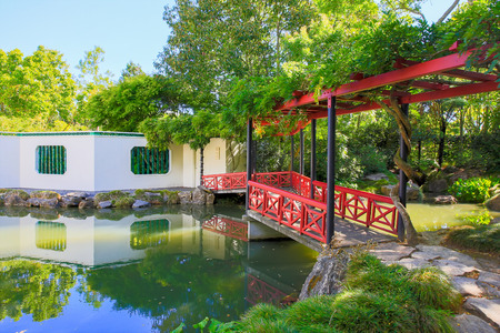 HAMILTON, NZ - FEBRUARY 25, 2015: Chinese Scholars garden in Hamilton Gardens