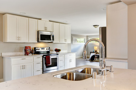 kitchen furniture: Bright kitchen room with steel appliances and granite tops. Northwest, USA