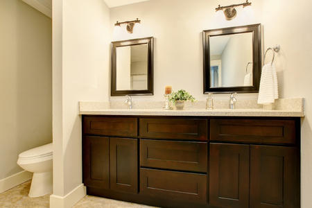 Badezimmerinnenraum in den weißen Tönen mit schwarzem Eitelkeitsschrank. Nordwesten, USA Standard-Bild - 63739774