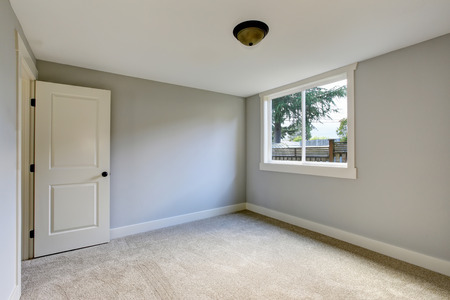 interior walls: Empty room interior with blue tones walls and carpet floor. Northwest, USA Stock Photo