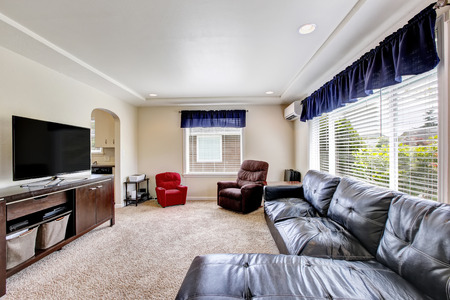Cozy living room interior with black leather couch and tv set. Northwest, USA