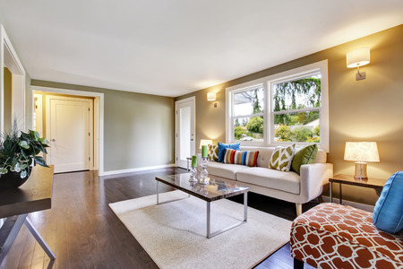 furnished: Modern furnished living room interior with hardwood floor. Northwest, USA
