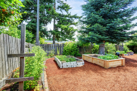 Small garden beds at the backyard. Northwest, USA
