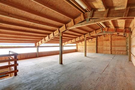 Empty barn inside with wooden trim. Northwest, USA