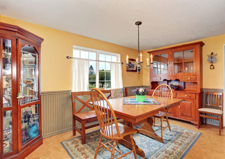 dining area: Traditional dining area with wooden furniture and rug. Northwest, USA