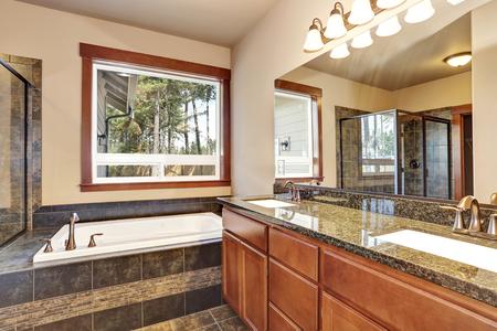 bagno interno di lusso con mobile vanity con piano in granito e un grande specchio. Vista della vasca di bagno bianca. Northwest, Stati Uniti d'America