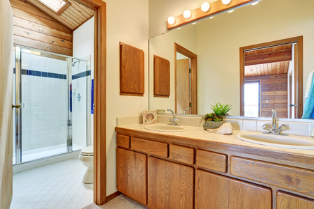 cabine de douche: Bedroom interior with vanity cabinet, two sinks and large mirror. Also view of glass cabin shower and toilet. Northwest, USA