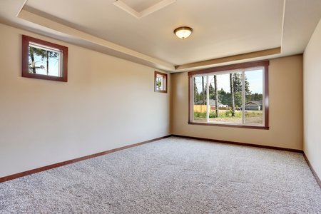 remodeled: Empty room interior with creamy tone walls and carpet floor. Northwest, USA