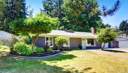 curb appeal: One level American house exterior with garage. Curb appeal. Northwest, USA