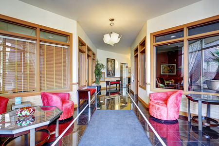 many windows: Modern hallway interior with shiny tile floor and many windows. Northwest, USA