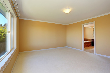 yellow walls: Empty room interior with yellow walls and one window. Northwest, USA