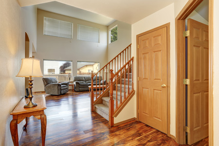 second floor: Classic hallway interior with hardwood floor. View of stairs to second floor. Northwest, USA