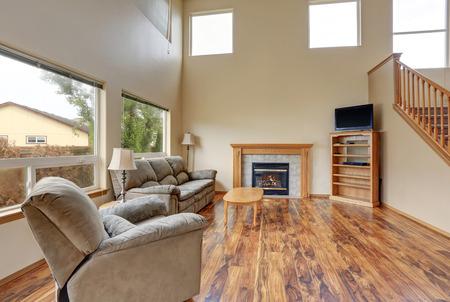traditional living room: Traditional living room interior with hardwood floor and fireplace. Northwest, USA