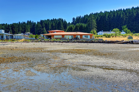 northwest: Waterfront house exterior. View from the beach. Northwest, USA