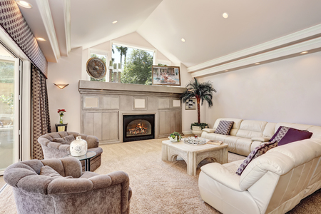 Gorgeous luxury furnished family room interior with vaulted ceiling. Decorated with palm tree in a pot and candles by the window. Northwest, USA Stock Photo