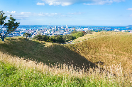 mount: Top of the Mount Eden volcano with amazing view of Auckland. High peak of the tourist season. New Zealand