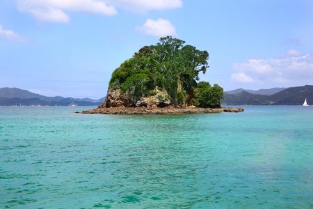 Small green island surrounded by water. Coromandel Peninsula, North Island, New Zealand