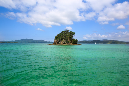 Small green island surrounded by water. Coromandel Peninsula, North Island, New Zealand