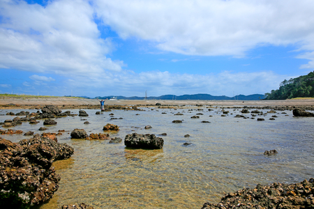 Man in blue shirt with hands up is standing in the water of Rocky coastline at Russell Long Beach, Bay of islands. New Zealand Stock Photo