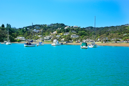 new zealand beach: View of boats at the harbour in Russell,  Bay of Islands, New Zealand.