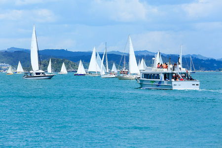 View of boats at the harbour in Russell,  Bay of Islands, New Zealand