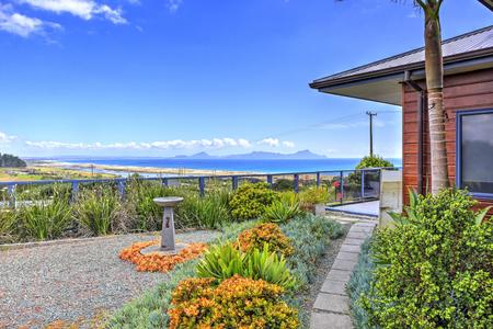 Front terrace of Aurora Lodge. Waipu, New Zealand Editorial